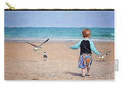 Chasing Birds On The Beach Carry-all Pouch