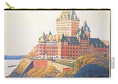Chateau Frontenac Luxury Hotel In Quebec, Canada - Vintage Travel Advertising Poster Carry-all Pouch