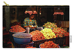 Carry-all Pouch featuring the photograph Cheannai Flower Market Colors by Mike Reid