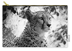 Cheetah B W, Guepard Black And White Carry-all Pouch