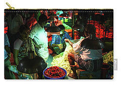 Carry-all Pouch featuring the photograph Chennai Flower Market Stalls by Mike Reid