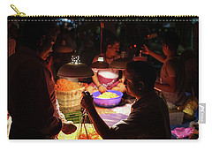 Carry-all Pouch featuring the photograph Chennai Flower Market Transaction by Mike Reid
