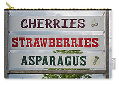 Cherries Strawberries Asparagus Roadside Sign Carry-all Pouch by Steve Gadomski