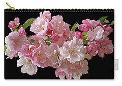 Cherry Blossom On Black Carry-all Pouch by Gill Billington