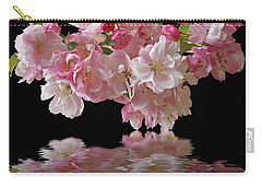 Cherry Blossom Reflections On Black Carry-all Pouch by Gill Billington