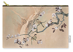 Cherry Blossom Tree And Two Birds Carry-all Pouch