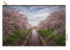 Carry-all Pouch featuring the photograph Cherry Blossoms In Nara by Rikk Flohr