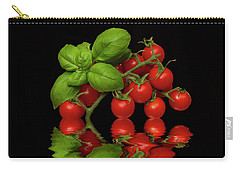Carry-all Pouch featuring the photograph Cherry Tomatoes And Basil by David French