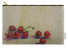 Cherry Tomatoes On Wood Carry-all Pouch