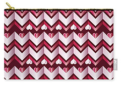 Chevron Hearts Metallic Ruby Red Pink Zigzag Carry-all Pouch