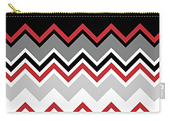 Chevron Red Grey Black White Zigzag Pattern Carry-all Pouch