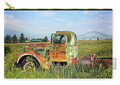 Carry-all Pouch featuring the mixed media Chevy In A Field by Terry Rowe