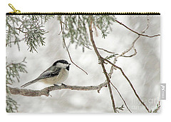 Chicadee In A Snow Storm  Carry-all Pouch