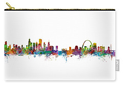 Chicago And St Louis Skyline Mashup Carry-all Pouch by Michael Tompsett