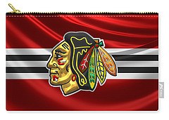 Chicago Blackhawks - 3 D Badge Over Silk Flag Carry-all Pouch