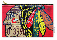 Chicago Blackhawks Hockey Team Vintage Logo Made From Old Recycled Illinois License Plates Red Carry-all Pouch by Design Turnpike