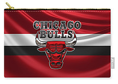 Chicago Bulls - 3 D Badge Over Flag Carry-all Pouch