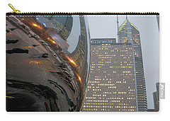 Carry-all Pouch featuring the photograph Chicago Cloud Gate. Reflections by Ausra Huntington nee Paulauskaite