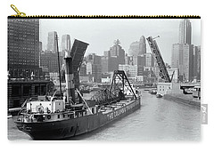 Carry-all Pouch featuring the photograph Chicago Draw Bridge 1941 by Daniel Hagerman