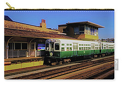 Carry-all Pouch featuring the photograph Chicago El Vintage  Cars At Armitage  by Tom Jelen