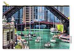 Carry-all Pouch featuring the painting Chicago River Boat Migration by Christopher Arndt
