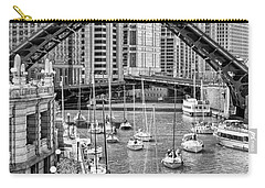 Carry-all Pouch featuring the photograph Chicago River Boat Migration In Black And White by Christopher Arndt