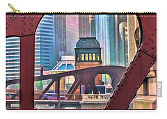 Carry-all Pouch featuring the painting Chicago River Bridge Framed by Christopher Arndt