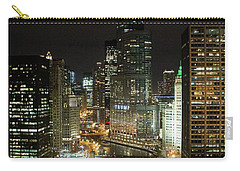 Chicago River Skyline At Night Carry-all Pouch