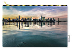 Chicago Skyline And Fish At Dusk Carry-all Pouch