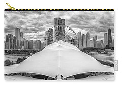 Carry-all Pouch featuring the photograph Chicago Skyline From Navy Pier Black And White by Adam Romanowicz