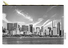 Chicago Skyline Panorama Black And White Carry-all Pouch by Christopher Arndt
