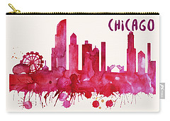Chicago Skyline Watercolor Poster - Cityscape Painting Artwork Carry-all Pouch