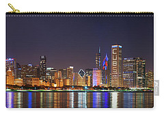 Chicago Skyline With Cubs World Series Lights Night, Chicago, Cook County, Illinois,  Carry-all Pouch by Panoramic Images