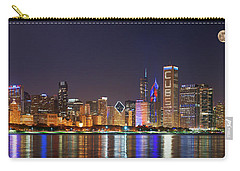 Chicago Skyline With Cubs World Series Lights Night, Moonrise, Chicago, Cook County, Illinois, Usa Carry-all Pouch by Panoramic Images