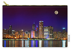 Chicago Skyline With Cubs World Series Lights Night, Moonrise, Lake Michigan, Chicago, Illinois Carry-all Pouch