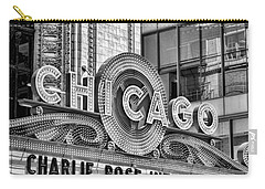 Chicago Theatre Marquee Black And White Carry-all Pouch