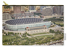 Carry-all Pouch featuring the photograph Chicago's Soldier Field Aerial by Adam Romanowicz