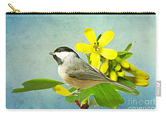 Chickadee And Flowers Carry-all Pouch