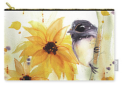 Carry-all Pouch featuring the painting Chickadee And Sunflowers by Dawn Derman