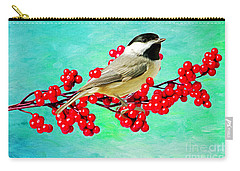 Chickadee And Winterberry Carry-all Pouch