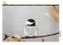 Carry-all Pouch featuring the photograph Chickadee Bird In Snow by Christina Rollo