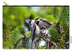 Chickadee Feeding Time Carry-all Pouch by Kerri Farley