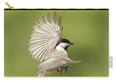 Chickadee In Flight Carry-all Pouch by Alan Lenk