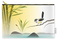 Carry-all Pouch featuring the digital art Chickadee In Spring by John Wills