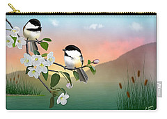 Chickadees And Apple Blossoms Carry-all Pouch
