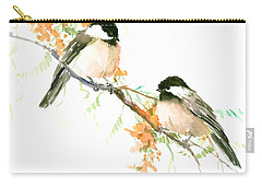 Chickadees And Orange Flowers Carry-all Pouch by Suren Nersisyan