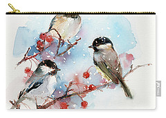 Chickadees With Berries Carry-all Pouch