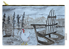 Carry-all Pouch featuring the painting Chicken By Chair by Jack G Brauer
