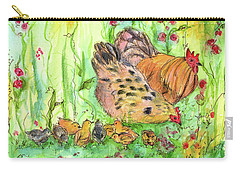 Carry-all Pouch featuring the painting Chicken Family by Cathie Richardson