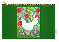 Chicken With Millefleurs And Butterflies  Carry-all Pouch